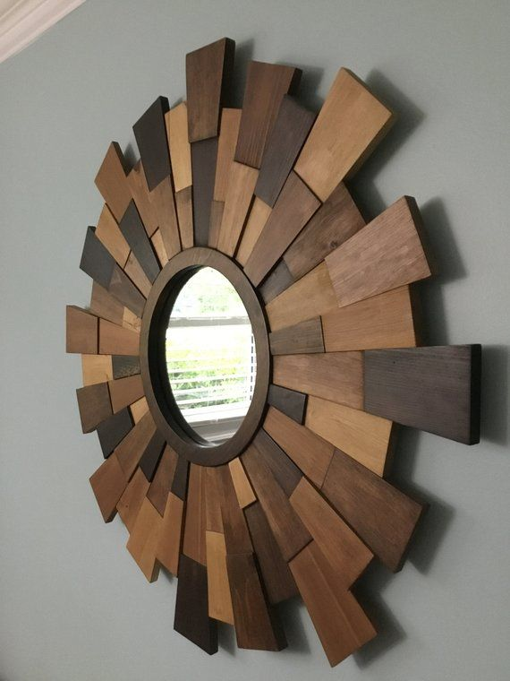 This Beautiful Sunburst Mirror Was Designed And Created To Portray A Vintage Yet Very Modern Look With Its Broken Up Dim Wood Framed Mirror Wood Mirror Mirror