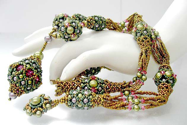 pearls and netting beaded beads.