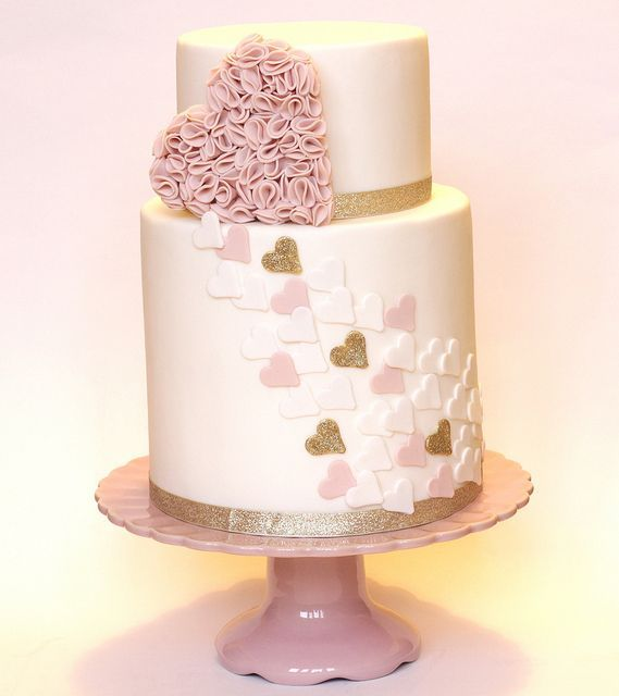 Pink, White & Gold Heart with Pink Ruffle Heart Cake cake decorating ideas