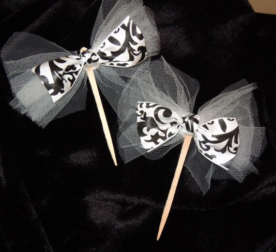 Damask and Tulle Cupcake, Cake, Dessert, Appetizer, Food Picks, Wedding, Party, Shower, Black and White, Damask
