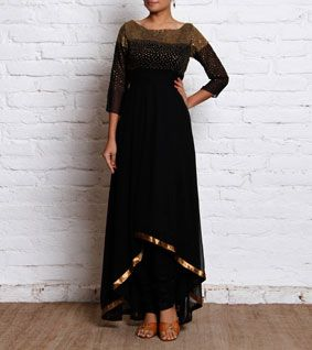 Black Sequined Georgette Anarkali Kurta
