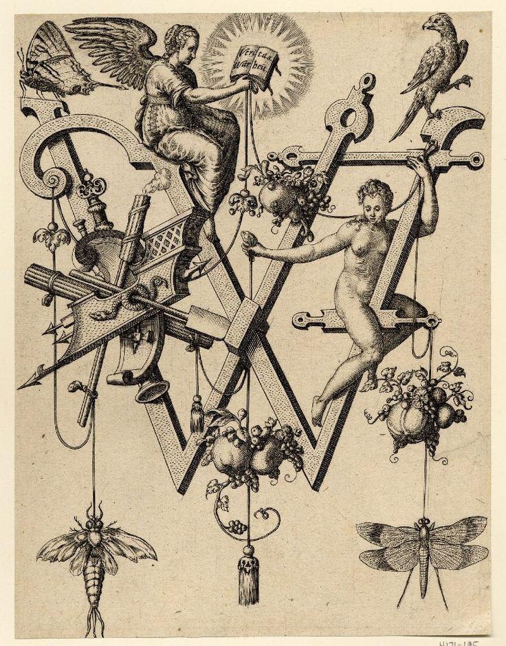 Nova Alphati effictio; Johann Theodor de Bry (Print made by); W; letter of the alphabet with an angel (Truth) sitting in profile