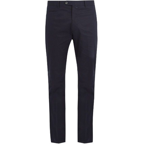 J.W. Brine Johan straight-leg stretch-cotton chino trousers (570 BRL) ❤ liked on Polyvore featuring men's fashion, men's clothing, men's pants, men's casual pants, navy, men's five pocket pants, mens navy blue pants, mens slim fit chino pants, mens slim pants and mens chino pants