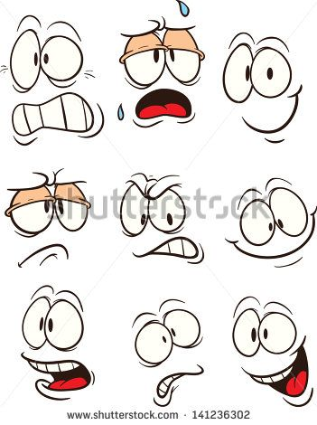 Cartoon faces. Vector clip art illustration. Each on a separate layer.