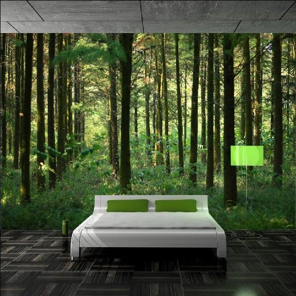 Best 25 forest green bedrooms ideas on pinterest green for Nature wallpaper for bedroom