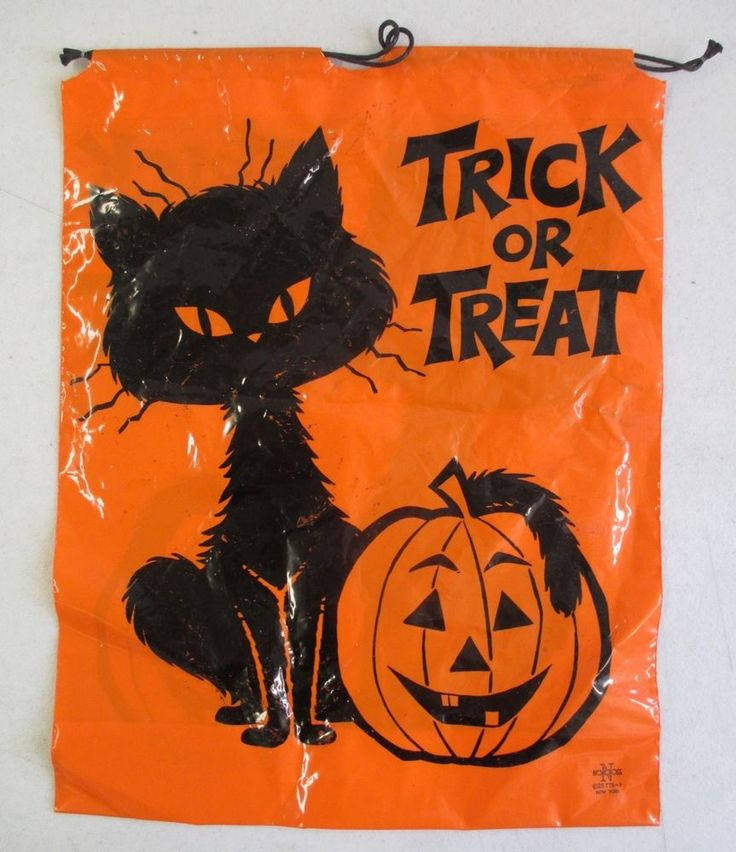 VINTAGE NORCROSS TRICK OR TREAT HALLOWEEN CANDY BAG ORANGE & BLACK CAT & PUMPKIN