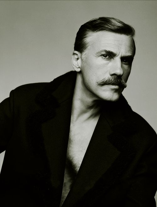 Christoph Waltz with a mustache that I would hate on just about anybody else. He can have it all he wants.
