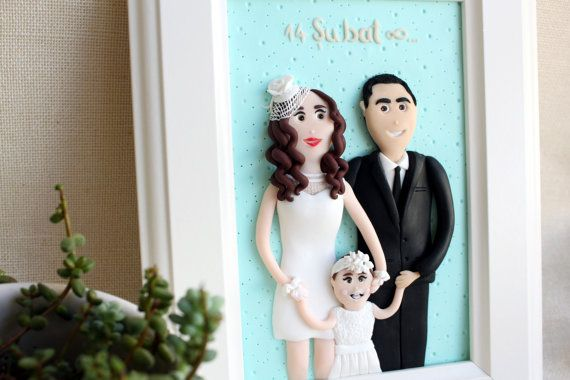 3D custom clay family portrait of three custom clay wedding