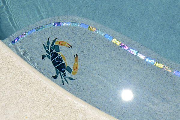 Blue Swimmer Crab pool mosaic on Swimout Bench