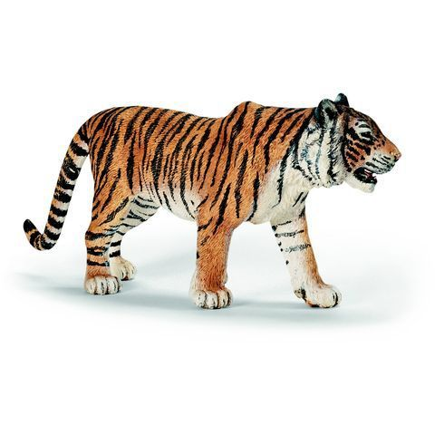 Promo Schleich, Figurine Tigre Du Bengale Mâle  - marque : Schleich Figurine Tigre du Bengale Mâle de Schleich, une figurine représentant ce fameux félin à la fourrure orange rayée de noir et terriblement féroce !... prix : 6.49 EUR €  chez Auchan Jeux et Jouets #Schleich #AuchanJeuxetJouets