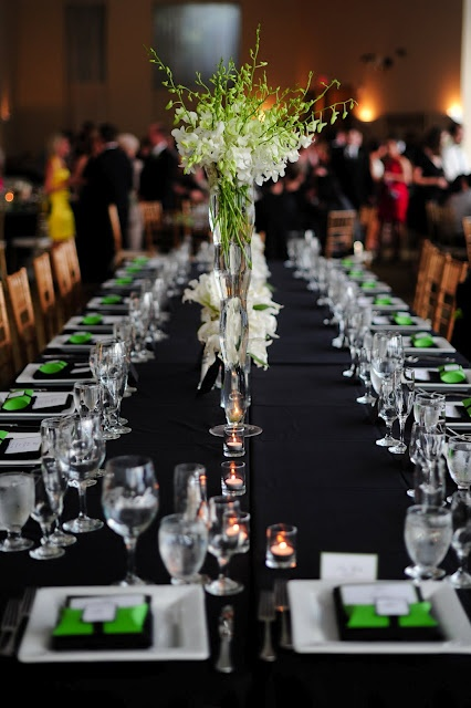 Green, black and white estate table setting  {Wedding Planning: www.ashleybaberweddings.com}