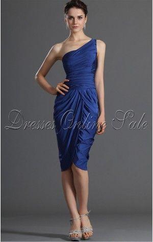 Casual Sheath Asymmetrical One Shoulder Royal Blue Taffeta Dress