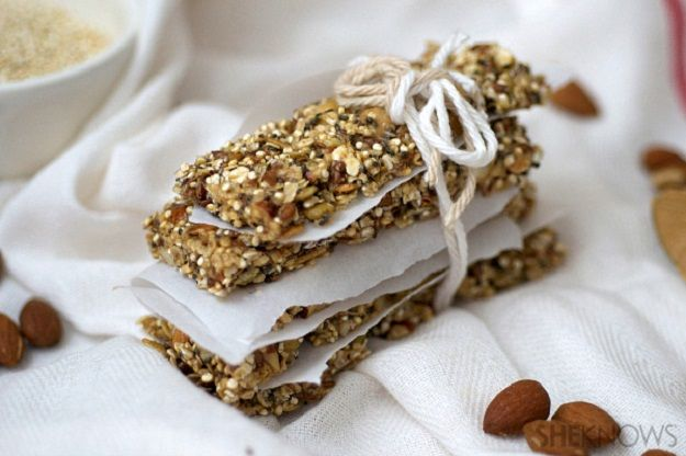 Pumpkin Seed, Quinoa and Almond Bars   25 Homemade Granola Bar Recipes To Rev Up Your Taste Buds by Homemade Recipes at http://homemaderecipes.com/course/breakfast-brunch/25-homemade-granola-bar-recipes/