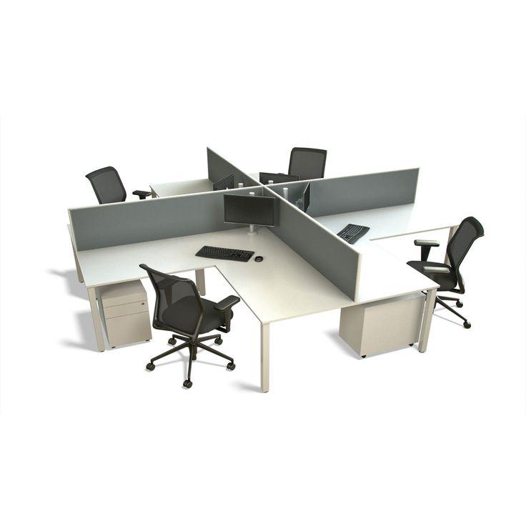 Presto 4-Way. The Presto workstation cluster is a combination of Presto double desks, fixed returns and privacy screens that provide a smart 4-person work zone.