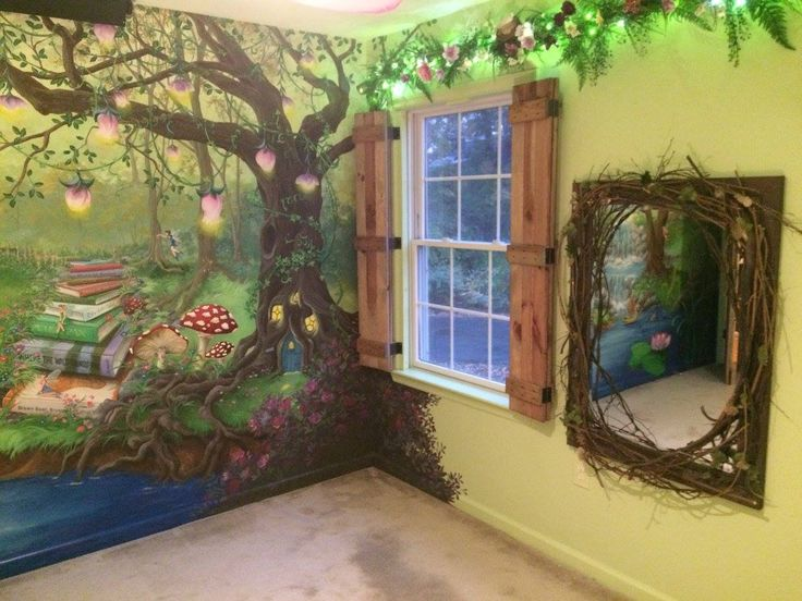 Enchanted forest bedroom - Mural, board and batten shutters, enchanted mirror for the little princess! #HannonArtWorks