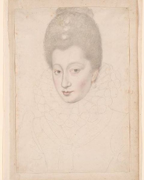 This unfinished drawing is a portrait of Gabrielle d'Estrées, Duchesse de Beaufort, mistress of Henry IV (1573–1599). #MorganLibrary #HenryIV #GabrielleDEstrees  Attributed to François Quesnel (1543-1619), Portrait of Gabrielle d'Estrées, Duchesse de Beaufort, mistress of Henry IV (1573-1599), Black chalk with red and red-brown chalk on cream paper. The Morgan Library & Museum.