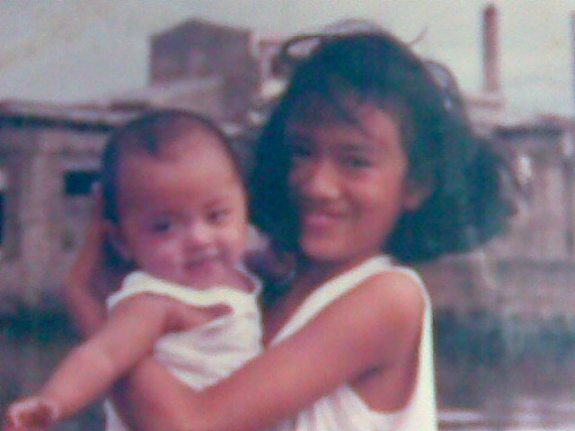 tabing ilog with ate bel and nikki (about 6 months old)
