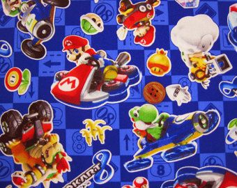 Nintendo Super Mario Brothers Mariokart japonais tissu 100 cm x 50 cm