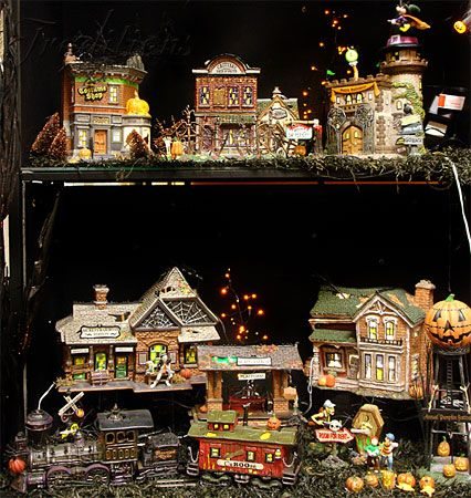 department 56 10th anniversary halloween village train and buildings - Miniature Halloween Decorations