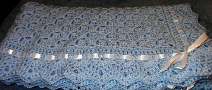 Крещение детское одеяло все мягкий синий ручная работа крючком для мальчиков новые белые ленты