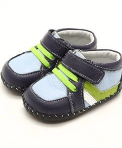 "Freycoo | Abel | Soft Sole Baby Shoes ""Abel"" are our funky baby boys soft sole leather sneaker-style shoes in navy with light blue detail and green faux laces."
