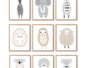 JEDE 6 Drucke tragen Druck, Pinguin Druck, Fuchsdruck, Wolf-Druck, Waschbär, Kaninchen, Waschbär, Tier-Wand-Kunst, Wald Tier, Kinderzimmer Dekor