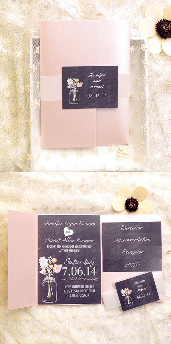 Cheap Blush Pink Mason Jars Chalkboard Pocket Spring Wedding Invites