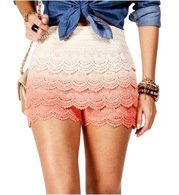Peach Dip Dye Crochet Shorts