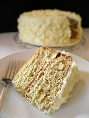 Banana Cake with Rum Cream Cheese Frosting...I personally think this sound AH-MAZING!! It seems to be just the right amount of sweet for me!