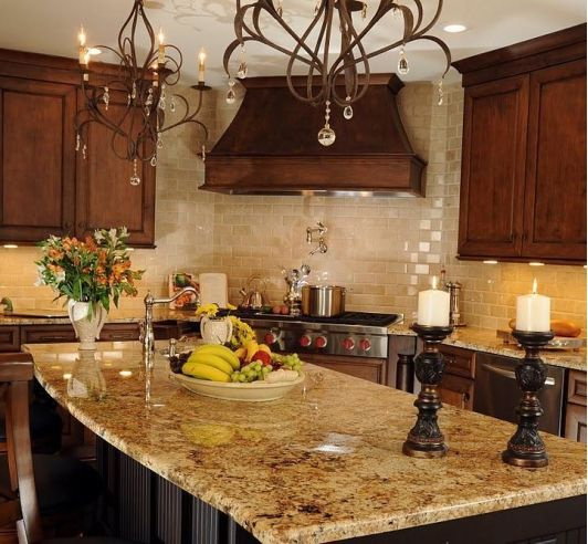 Tuscan Kitchen Love the Granite Like the colors and the backsplash..... Love the chandeliers ...dainty and pretty!