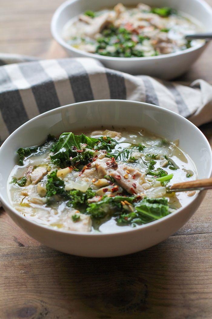 Crock Pot Chicken, Artichoke, and Kale Soup   TheRoastedRoot.net #healthy…