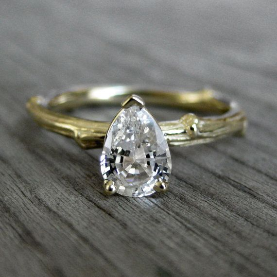 Pretty !   SALE: Pear White Sapphire Twig Ring, Yellow Gold, Size 5
