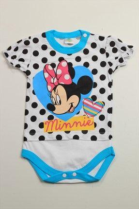 Disney Kız Bebek Beyaz Siyah Body 2648