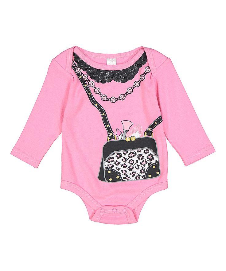 Pink Leopard Purse Long-Sleeve Bodysuit