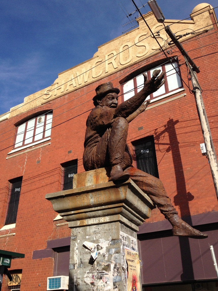 Statue of local poet Adrian Rawlins, corner of Argyle and Brunswick Streets, Fitzroy.