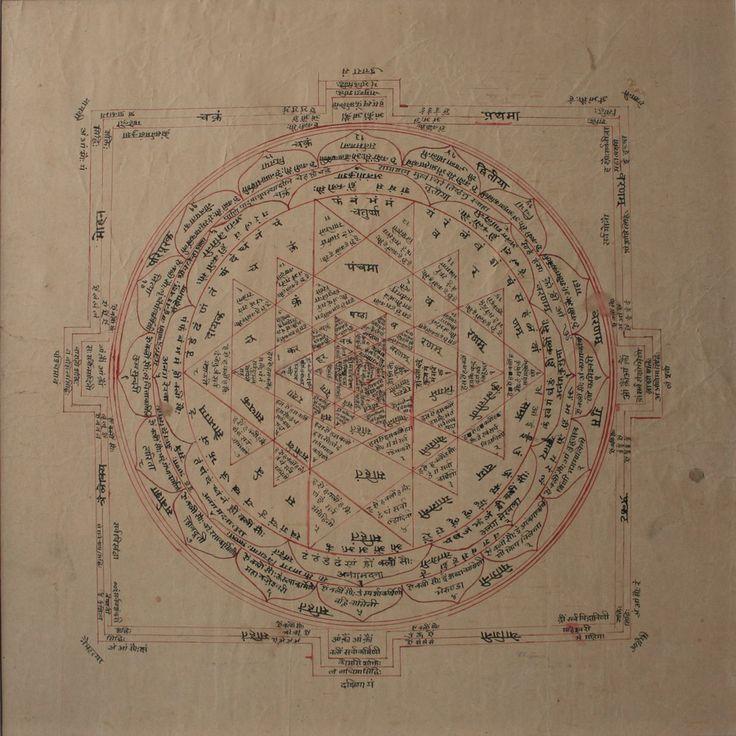 www.IndianMiniaturePaintings.co.uk - Янтра. Раджастхан, около 19-го века. Красные чернила с черными чернилами Nagari текста на WASLI. 35 х 35 см