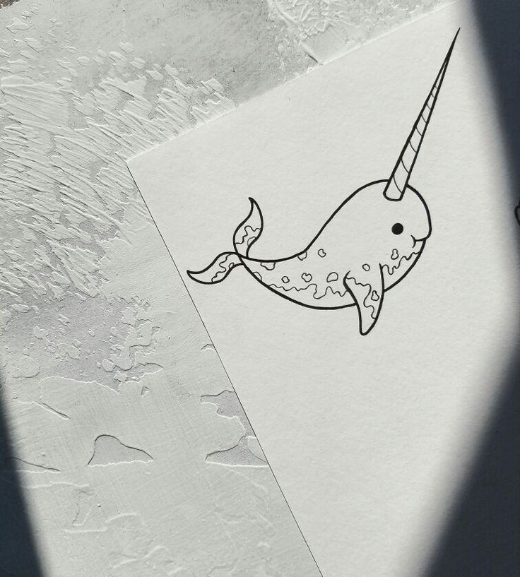 cute little narwhal tattoo flash design by nico di pisarro