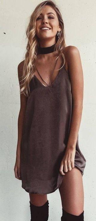 Chocolate Slip Dress                                                                             Source