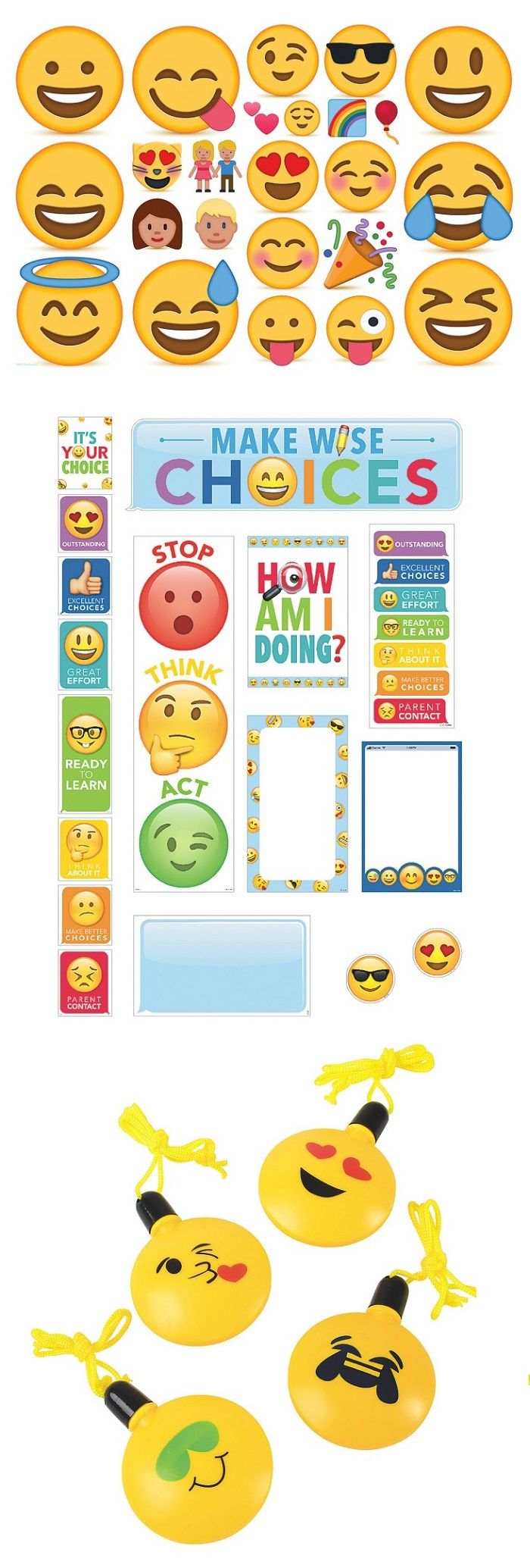 Emojis can be used in the classroom and afterschool! Use them for bulletin boards, charts, posters, crafts, prizes, and more. Students can use emojis to learn how to express themselves and learn what expression represent each emotion. No matter what your teaching style, you can add an emoji theme to your lesson plan or activity!