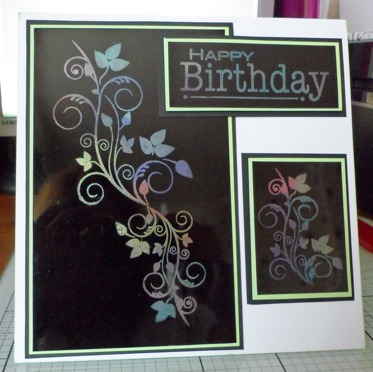 Clarity Stamp, Flower stamps on Black Gloss Card and Mica Powders to add some Colour.