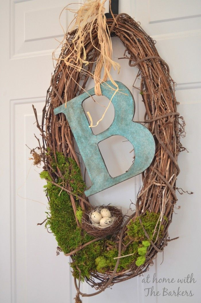 Natural Spring Wreath with DIY monogram
