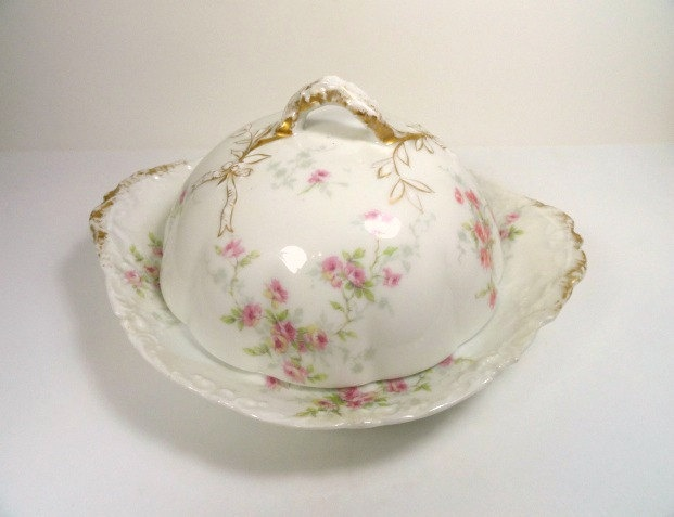 Theodore Haviland Limoges Covered Butter Dish Circa 1895, Antique Dishes, Vintage. $98.00, via Etsy.