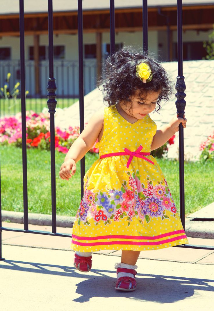 Dress Girl Yellow Pink #girlfashion #yellowdress