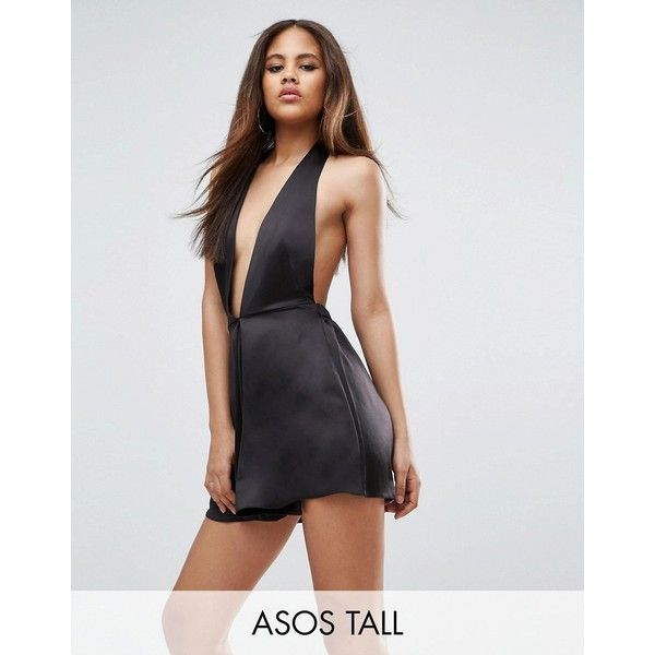 ASOS TALL Playsuit in Satin with Halter Plunge (1,840 PHP) ❤ liked on Polyvore featuring jumpsuits, rompers, black, asos romper, satin romper, playsuit romper, satin rompers and tall romper