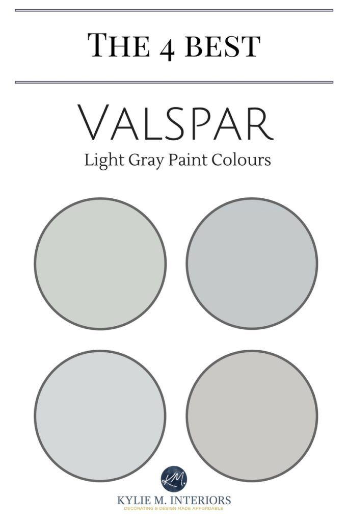 The 4 best light gray paint colours by Valspar.  Learn about Notre Dame, Tempered Gray, Gravity and Filtered Shade. Kylie M Interiors E-décor and Color Consultant including Benjamin Moore and Sherwin Williams #kylieminteriors #edecor