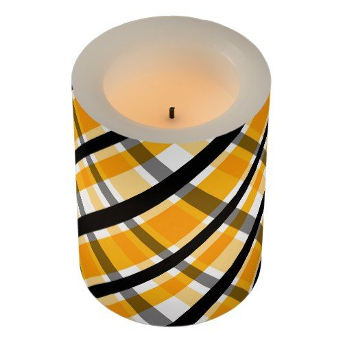 Pittsburgh Sports Fan Yellow Gold Black Plaid Flameless Candle