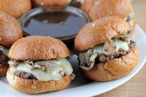 French Dip Burgers: Games Day Recipe, Sliders Recipe, Burgers Recipe, Dips Recipe, Dinners, Burger Recipes, French Dips Burgers 3, Dips Burgers Mi, Burgers Sliders Jo