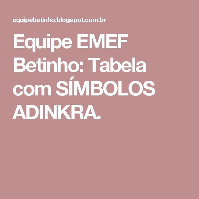 Equipe EMEF Betinho: Tabela com SÍMBOLOS ADINKRA.