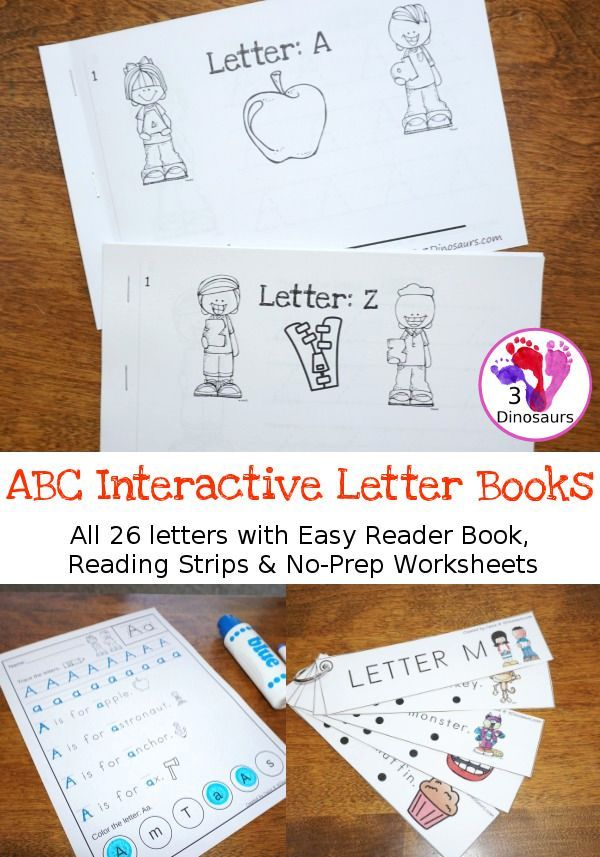 ABC Interactive Books - all 26 letters with interactive easy reader book, no-prep worksheets and reader strips $ - 3Dinosaurs.com