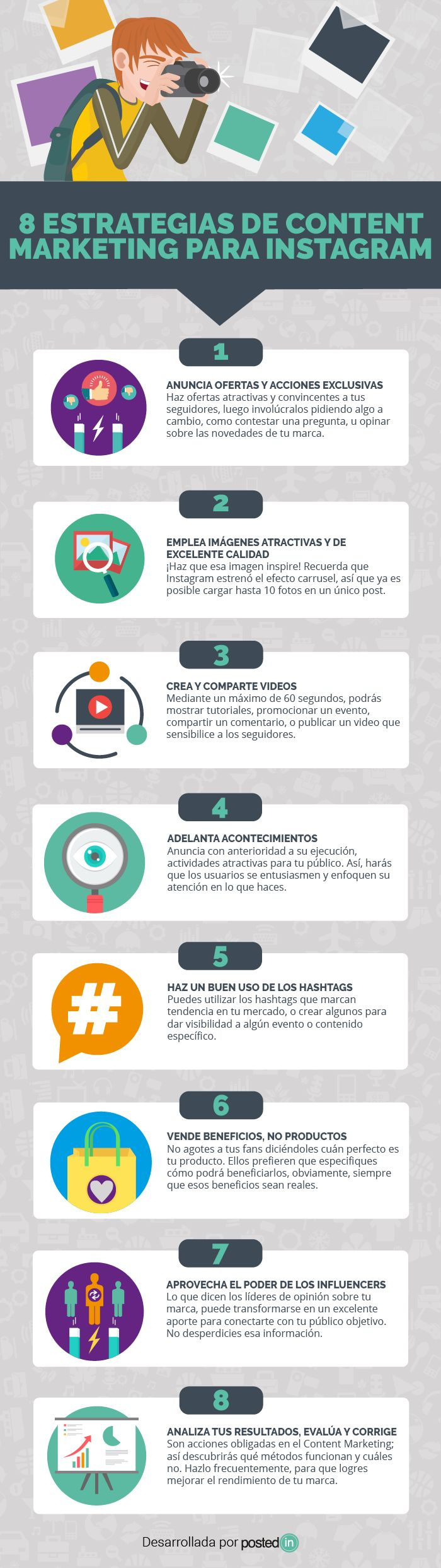 8 estrategias de marketing de contenidos para Instagram #infografia #marketing #socialmedia